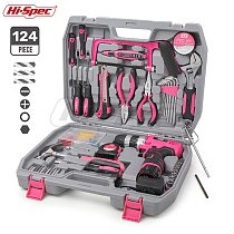 Hi-Spec 60 Pieces Pink Hand Tool Set Kit 12V Electric Screwdriver Li-ion Battery Gril Lady Women Household Power Tool Set