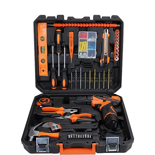 44 pcs/set Cordless Li-Ion Drill Power Tools with Hand Tools Combination Tools Case Tool Kit Plier Wrench Drill PTS015