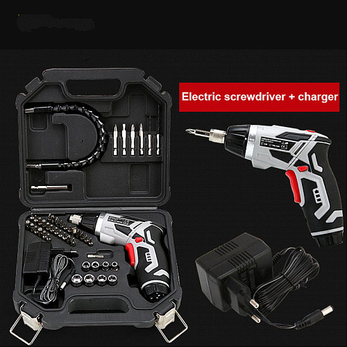 46 Sets Rechargeable Battery Electric Screwdriver With Flashlight,Screwdriver Bit,Socket Connecting Rod Socket Power Tool Set