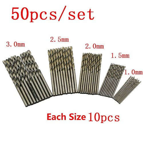 60/50/40/25/20/13/10 Pcs HSS Titanium Coated Twist Drill Bits High Speed Steel Mini Drill Bit Set Power Drilling Tools for Wood