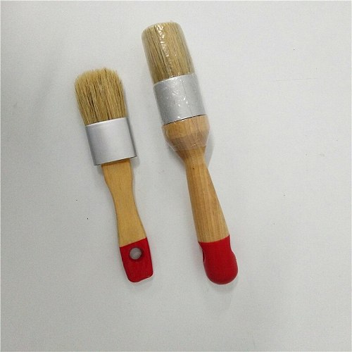 2PC Red Tail Wooden Handle Chalk Paint Hand tool set Pointed Brush Bristle Chalk Oil Painting Wax Brush Artist Art Supplies