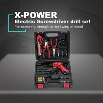 X-power 4.8V Rechargeable Cordless Electric Screwdriver Drill Bit Kit Set Household DIY Screw Power Driver Sleeve Tool Set
