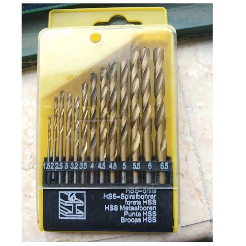 Hige quality 13pcs Round Shank HSS Coated Titanium Drill Bit Set 1.5-6.5mm Quick Change Drill Bit high quality tools parts