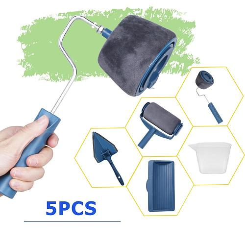 5pcs Paint Runner Roller Brush Tool Set Multifunctional Wall Decorative Paint Roller Brush Set Home Repack Tool Use Easy