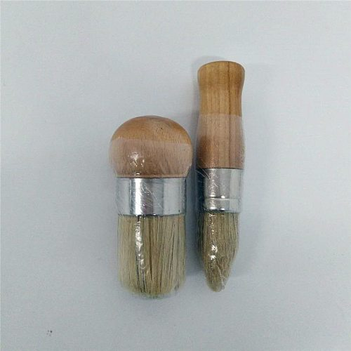 2PC Wooden Handle Chalk Paint Pointed Brush Hand tool set Bristle Chalk Oil Paint Painting Wax Brush Artist Art Supplies