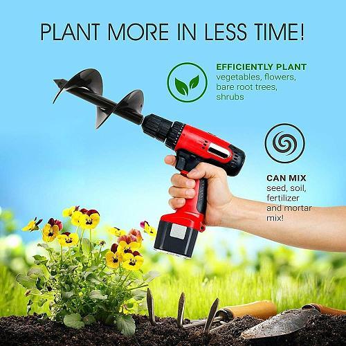 AMKOY Carbon Steel Planter Garden Auger Spiral Drill Bit Flower Planting Hole Digger Drill Bit Yard Gardening Bedding Planting
