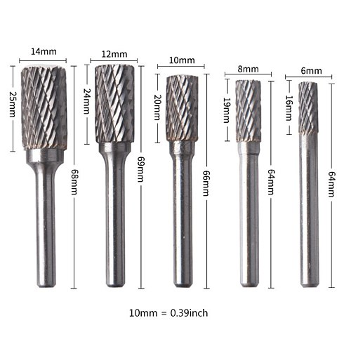 5pcs Tungsten Carbide Steel Rotary Burrs Set Grinding Head Rotary File for Electric Grinder Replacement Accessories