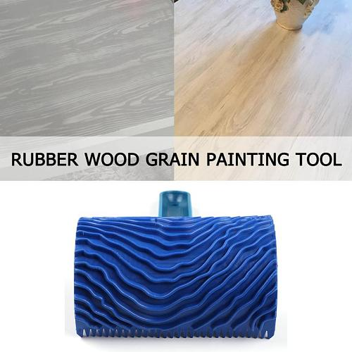Rubber Wood Grain Paint Roller Blue DIY Graining Wall Painting Tool Wood Grain Pattern Wall Painting Roller With Handle