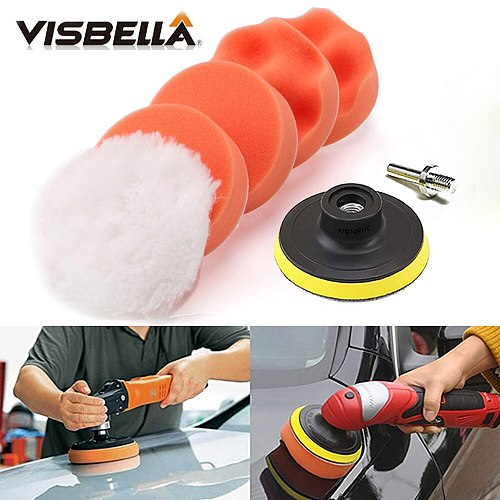 VISBELLA 7Pcs Car Polishing Pad 3 Inch Buffing Foam Drill Pad Sponge Set Kit with Car Polisher M10 Drill Adapter Paint Care Tool
