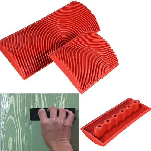 2pcs/set Red Rubber DIY Wood Grain Paint Roller Graining Painting Tool Wood Grain Pattern Wall Painting Roller Home Tool DA