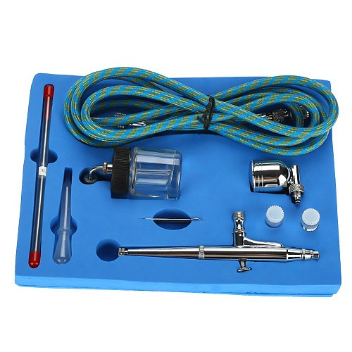 Airbrush Kit 0.2mm/0.5mm Needle Gravity Feed Air Brush Spray Gun for Tattoo Nail Art Air Paint