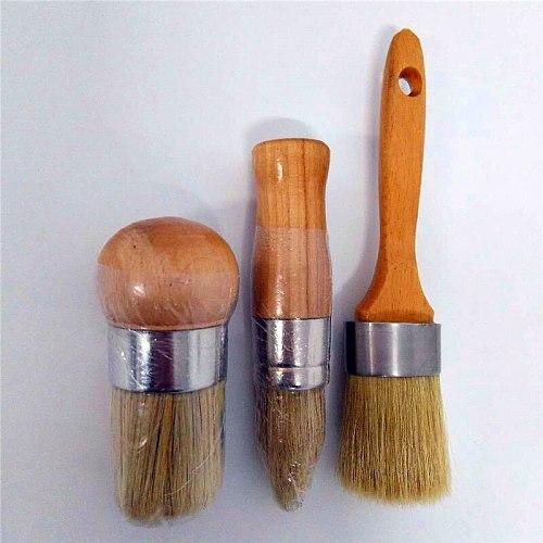 9PC Wooden Handle Chalk Wax Paint Hand tool set Pointed Brush Bristle Chalk Oil Paint Painting Wax Brush Artist Art Supplies