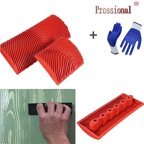 Imitation Wood Grain Paint Roller Brush Wall Painting Tool 2PCS 3 Inch 6 Inch Wall Texture Art Painting DIY Tool Set