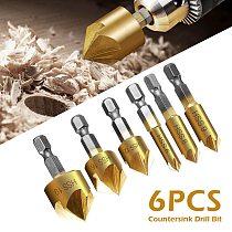 6Pc Hexagonal Shank Titanium Coated 5 Flutes HSS Countersink Chamfer Drill Bit 1/4  Coated Woodworking Core Dril Bit Hole Saw
