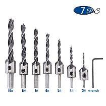 7pcs/set High Speed Steel 5 Flute Countersink Wood Drill Bits Set 3mm 4mm 5mm 6mm 7mm 8mm 10mm for Woodworking Carpentry Reamer