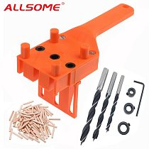 ALLSOME Woodworking Dowel Jig with 6 8 10mm Drill Bits Wood Drilling Doweling Hole Saw Tools Drill Guide with Carpenters HT2575
