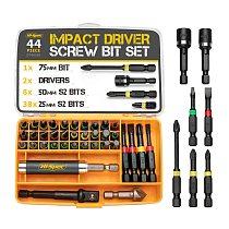 Hi-Spec Premium 44pc Impact Driver Drill Bit S2 Screwdriver Bits Set Power Tool Acessories Home Appliances Repair Hand Tools Kit