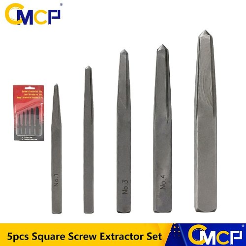 5pcs 1/8 3/16 15/64 5/16 3/8 Square Screw Extractor Set Broken Screw Remover Damaged Bolt Drill Bits Removal Tools