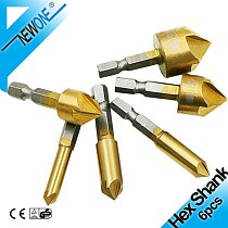 Countersink Drill Bit Set 6psc/lot High Carbon Steel Chamfer Reamer Hex Shank 90° Point Angle Cutter Center Drilling Bits