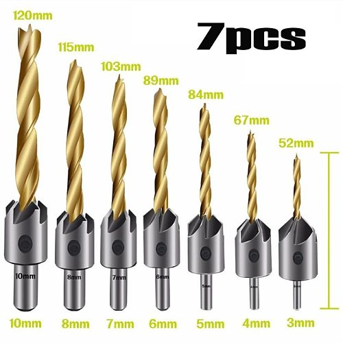 3-10mm Round Shank Titanium Coating HSS Countersink Drill Bit Carpentry Chamfer Boring Woodworking Tool With Hex L-wrench