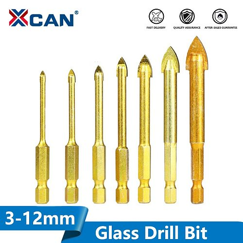 XCAN Carbide TCT Glass Drill Bits 1 Set 1/4'' Hex Shank Titanium Coated Power Tools Accessories Wall Glass Hole Drill
