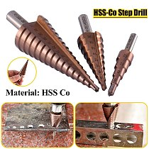 HSS CO M35 Triangle Shank 4-12/4-20/4-32MM Straight Groove Broca Metal Step Cone Drill Bit Stainless Steel Hole Saw Cutter