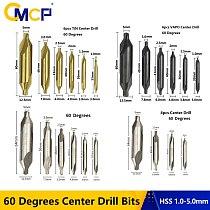 60 Degrees HSS Center Drill Bit Set 1mm 1.5mm 2mm 2.5mm 3mm 3.5mm 5.0mm Countersink Drill Bit TiN Coated Combined Center Drills