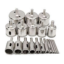 20pcs Diamond Coated Drill Bit Set Tile Marble Glass Ceramic Hole Saw Drilling Bits For Power Tools 3mm-50mm
