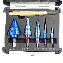6Pcs HSS Nano Blue Coated Step Drill Bit With Center Punch Set Hole Cutter Drilling Tool HT2887