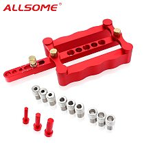 ALLSOME 6/8/10mm Self-centering Woodworking Doweling Jig Drill Guide Wood Dowel Puncher Locator Tools Kit for Carpentry