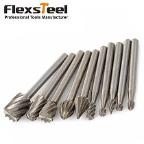 10 Pieces 1/8 HSS Routing Router Drill Bits Set Dremel Carbide Rotary Burrs Tools Wood Stone Metal Root Carving Milling Cutter