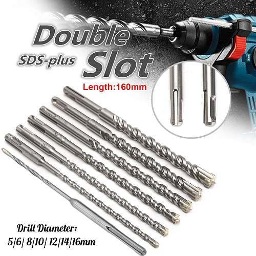 160mm Concrete Drill Bit Double SDS Plus Slot Masonry Hammer Head Tools 5-16mm Metal Hss Drill Set for Electric Drills Cutting