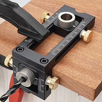 2 In 1 Flat Head Cross Oblique Drill Hole Puncher Locator Woodworking Joinery System Kit Guide Locator Jig Wood Tools