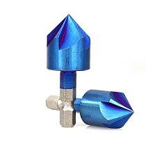 XCAN 6pcs 6-19mm 90 Degrees 5 Flutes Chamfer Drill Bit Set HSS Chamfering Cutter Nano Blue Coated Countersink Drill Bit