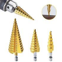 Hss Step Drill Bit Set 4-32 mm Cone Hole Cutter Titanium Coated Metal Hex Core Drill Bits Wood Hole Cutter Step Cone Drill
