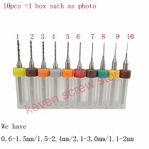 10pcs/Set 0.6-1.5/1.5-2.4/2.1-3.0/1.1-2mm Hard Alloy PCB Print Circuit Board Carbide Micro Drill Bits Tool   for SMT CNC