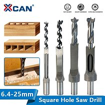 XCAN Square Hole Saw 6.4-25mm Mortise Chisel Wood Drill Bit HSS Steel Hole Cutter with Twist Drill Square Drill Bit