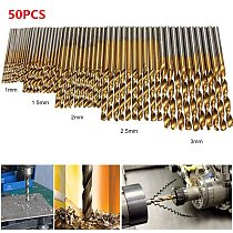 50pcs 1/1.5/2/2.5/3mm Titanium Coated Twist Drill Bits Set HSS Straight Shank Drill Bits Set For Woodworking 1-3mm