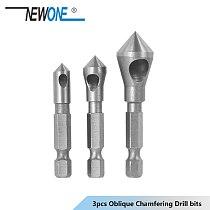 3 pcs/set Oblique Chamfering Bearing Steel  1/4 straight hexagonal shank inch 90 degree Countersink Drill Bit