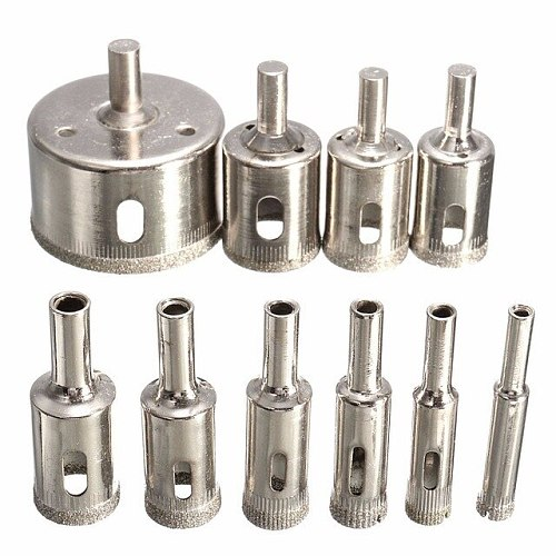 10pcs Diamond Coated Hss Drill Bit Set Tile Marble Glass Ceramic Hole Saw Drilling Bits For Power Tools 6mm-30mm