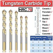 Tungsten Carbide Tip Tile Drill Bits Set For Multi-Material Porcelain Concrete Brick Glass 5Pcs 6-12mm Wall Granite Marble