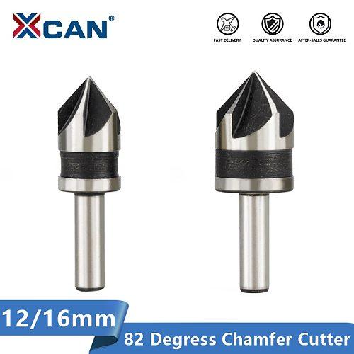 XCAN Chamfering Cutter 2pcs 12 16mm 82 Degrees Wood Metal Hole Cutter 5 Flute Hole Drill Countersink Drill Bit