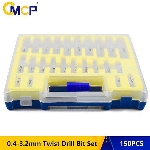 150 PCS HSS Twist Drill Bit Size 0.4mm-3.2mm Metalworking Drill Bit Set Round Shank Mini Drill Bit