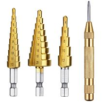 3 pcs 3-12mm 4-12mm 4-20mm HSS Titanium Step Drill Bit Set & 1 pcs Automatic Center Punch