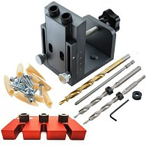 Pocket Hole Drill Guide Dowel Jig Set Woodworking Joinery Master Kit Carpentry for Carpentry Drilling Pocket Hole Tools