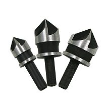 3pcs carbon steel 90 degrees round shank five-edge chamfer 12/16/19mm  countersink woodworking hole opene Punching
