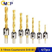 4pcs/7pcs HSS 3-10mm Countersink Drill Bit Set Titanium Coated Wood Drill Bit With Hex Key Chamfer Drill Bit