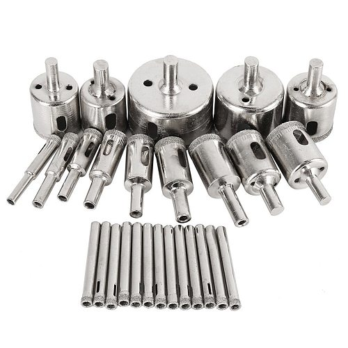 28pcs 6mm-50mm diamond coated drill tile marble glass ceramic hole saw drilling bits