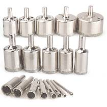Diamond Drill Bits,18Pcs Diamond Hole Saws Hollow Core Drill Bits Set Remover Tools for Glass,Ceramics,Porcelain,Ceramic Tile,