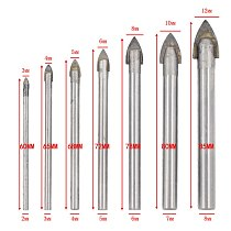 7Pcs 3-12mm Glass Drill Bit Set Tungsten Carbide Tipped Ceramic Tile Cutter with Hex Shank Triangle Hole Drill for Power Tools